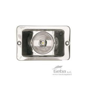 Fanale di poppa in Acciaio Inox LED 12V a norma CE. Dimensioni: 130 x 85 mm.