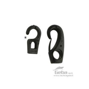 Gancetto per elastici in Nylon Nero. Venduti in confezione da 10 pz