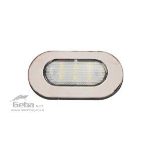 Luce di cortesia LED 12V impermeabile IP67 in Acciaio Inox con montaggio a superficie. Sottile, consumo ridotto 1,2W. Luce bianca fredda 6000 K°.