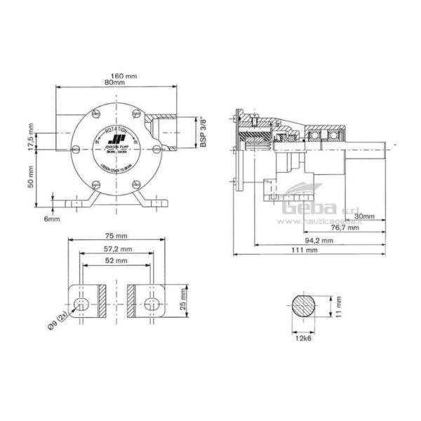scheda tecnica montaggio pompa flangiata Johnson F4B-8 raffreddamento motori marini