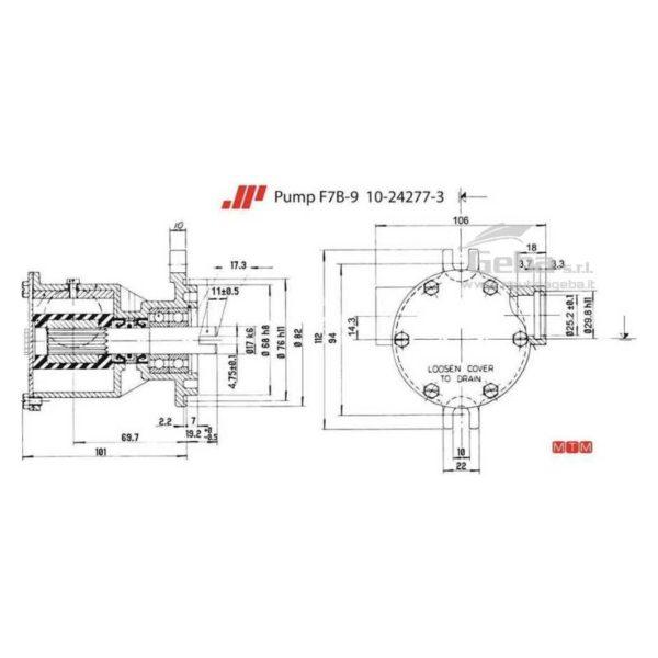 scheda tecnica montaggio pompa flangiata Johnson F7B-9 raffreddamento motori marini