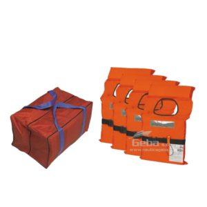 Kit 4 giubbotti salvataggio 100N con borsa per cinture barca