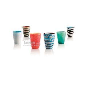 Bicchieri per barca in pasta di vetro colorata nautica 6 pezzi