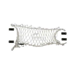 Rete elastica portaoggettie salvacadute per cucette con ganci d'attacco bianca