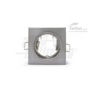Supporto quandrato lucido per lampada led - Con graffetta - 76x76mm - Attacco NON incluso uso nautico