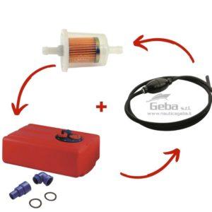 Kit serbatoio carburante completo fi filtro e tubo pompetta barca